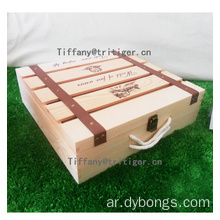 Wholesale luxury square shape single bottle packaging pine wooden wine boxes