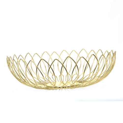 Multifunctional Iron Gold Fruit Basket Large Capacity Fruit Storage Bowl For Fruit Vegetable Bread Candy