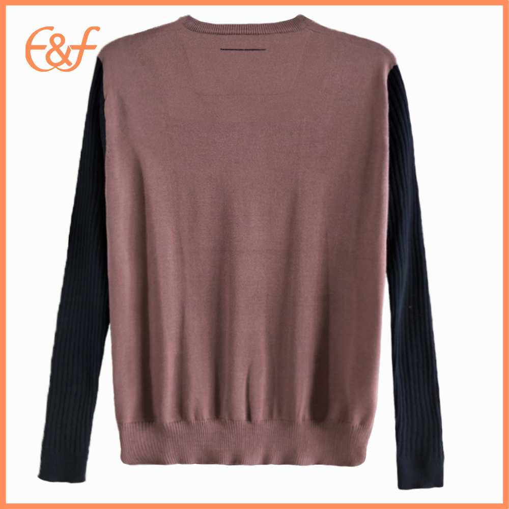 100%Cotton V Neck Mens Knitwear Sweater back look