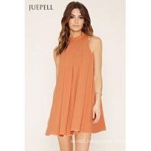 OEM Fashion Pleated Big Hem Sleeveless Dress