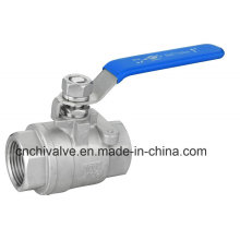 Ss316L Plastic Handle Cover PTFE Seal Thread 2PC Ball Valve