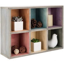 high quality 12x16.5 Inch Wall Mountable 6 Compartment Rainbow Wood Shadow Display Box for Home Decor