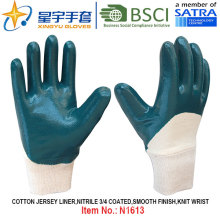 Cotton Jersey Shell Nitrile Coated Safety Work Gloves (N1613)
