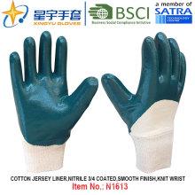 Хлопок Джерси Shell Нитрил покрытием безопасности рабочих перчаток (N1613)