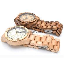 Деревянные часы для мужчин Женские часы Zebrawood Analog Wood