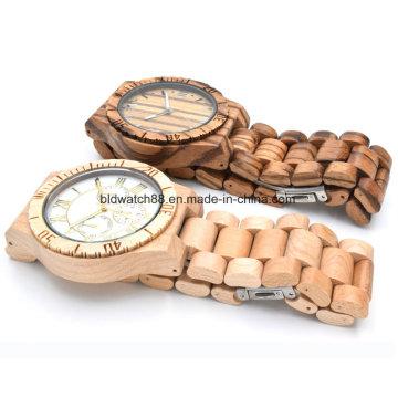 Relógio de madeira para homens Mulher Zebrawood Analog Wood Watch
