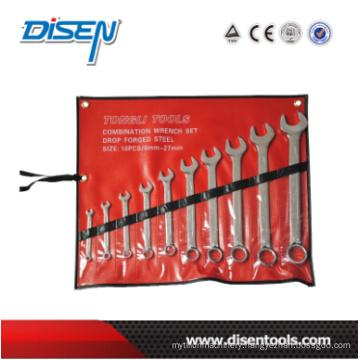 10PC Chrome Plastic Bag Combination Wrench Set