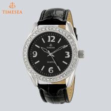 Damen-Silber-Ton Kristall Akzentuierte Leder-Armbanduhr 71269