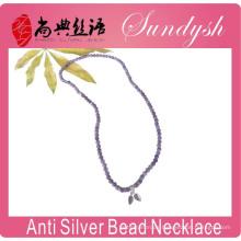 Einzigartige Handmade Purple Raw Kristall Perlen 925 Blätter Charms Armband Halskette Perlen