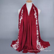 Wholesale Fashion Cotton Muslim Jersey Hijab Top quality flower pattern embroidery hijab shawl