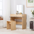 Vanity Makeup Table Set Dressing Table with Stool and Mirror