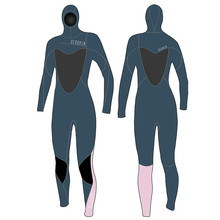 Seaskin Diving Wetsuits Donna 5mm con cappuccio con zip sul petto