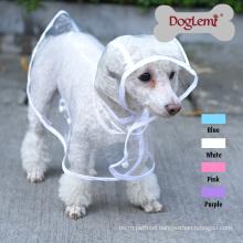 Clear Large Dog Pet Raincoat Clothes Puppy Glisten Bar Hoody Waterproof Rain Jackets