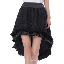 Belle Poque Vintage Retro Lace Satin Elastic Waist Asymmetrical High-Low Black Skirt BP000329-1