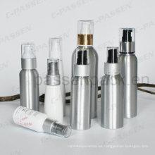 Botella cosmética de aluminio de encargo con la bomba de la loción del polvo (PPC-ACB-006)