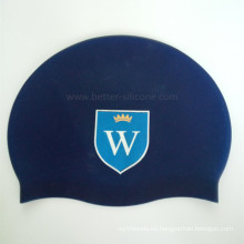 Gorra de baño estampada con logo de silicona