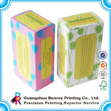Custom logo printed white colorful paper tea box packaging