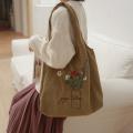 Bolsa de pano com remendo bordado de flores Sacolas de compras