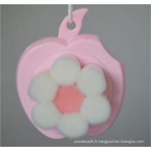 Démaquillant facial à cheveux doux de mode Brosse de nettoyage en forme de fleur rose