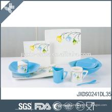 Elegant flower decal design fine ceramic blue and white chinese dinnerware