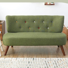 일본 나무 다리 Loveseat Linen Armless Sofa