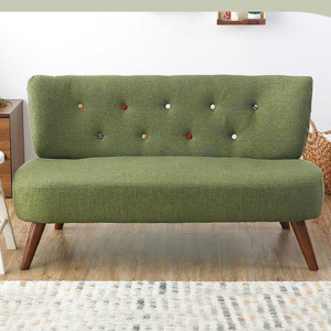 Japanese Wooden Legs Loveseat Linen Armless Sofa