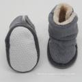 Grey plush non slip sole baby shoes winter newborn booties