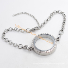 Plain 316L stainless steel floating charms magnetic glass lockets bracelets