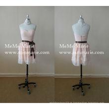 Light Pink Sweetheart Vestido de dama de honra Sweetheart Vestido de festa curto com arco de faixa BYE-14015