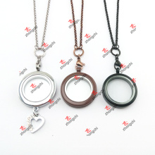 Personalizado café / preto / cromo / cor de chocolate de aço inoxidável Cadeia Lockets conjuntos (cls60104)