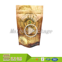 FDA Approved Custom Design Food Package Stand Up Metallic Foil Coffee Bags With Zip Lock