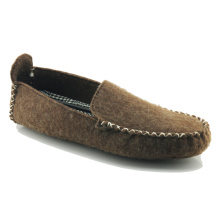 Wholesale men house brown wool felt slippers