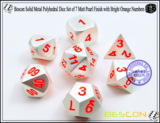 Bescon Solid Metal Polyhedral Dice Set of 7 Matt Pearl Finish with Bright Orange Numbers-2