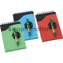 Conjunto de artigos de papelaria papel lembrete caderno reciclado com caneta