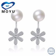925 plata esterlina perla blanca y colgante flor Corea brillo de fantasía