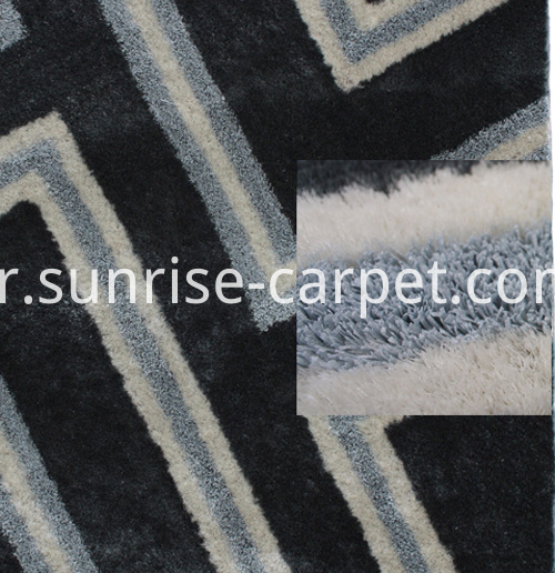 strip and silk 3D design rug