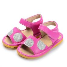 Горячие розовые сандалии для девочки с щеточкой Большие точки польки