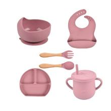 Wholesale Microwave Safe Soft Custom Logo Bib With Spoon Bowl Suction Plate Bpa Free Eco Babi Silicon Feeding Set For Baby