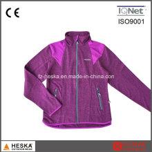 Mulheres mais baratas de malha Melange costura jaqueta de lã