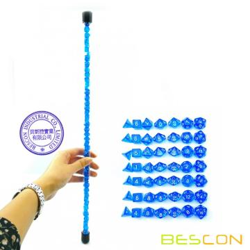Bescon 49pcs Gem Blue Mini Polyhedral Dice Set en Long Tube, Mini Donjons Saphir et Dragons RPG Dice 7X7pcs, Set Bâton Long