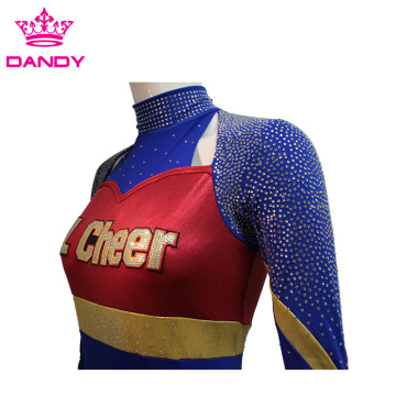Metallic Stoff Marineblau Cheer Uniform
