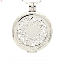 Round silver crystal coin holder pendant,stainless steel pendant coin holder