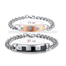 Romântico metal chunky diamante dele e sua pulseira, pulseiras de relacionamento para ele e ela