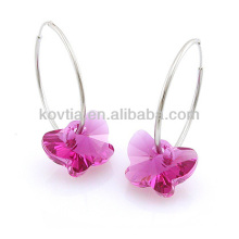 925 brincos de aro de sliver esterlina borboleta em forma de brinco de pedra de cristal rosa