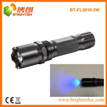 Alimentation en usine 3watt Aluminium 365nm-370nm Bright Power Ultraviolet UV conduit Black Light Flashlight pour contrefaçon d'argent