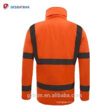 Veste imperméable de sécurité d'hiver de vis de haute visibilité avec des rayures réfléchissantes, Parka de vêtements de travail imperméable à capuchon de visibilité élevée