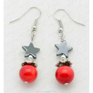 Red Coral Star Beads hematite earring