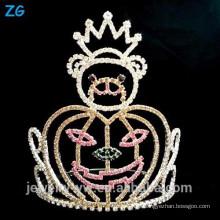 Oso de Halloween de moda cristal y corona de calabazas, corona de desfile para Halloween