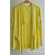 Ladies Long Sleeve Opean Pure Color Knit Cardigan with Pocket