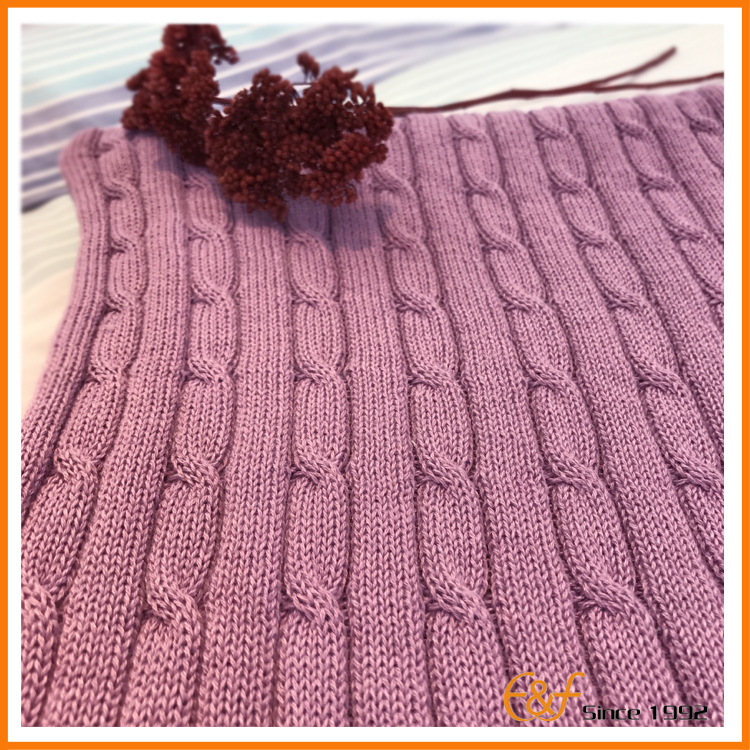 Purple knit blanket knit cable pattern